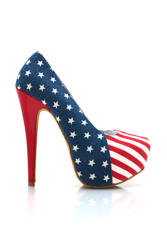 All American Girl Platform Pumps RED
