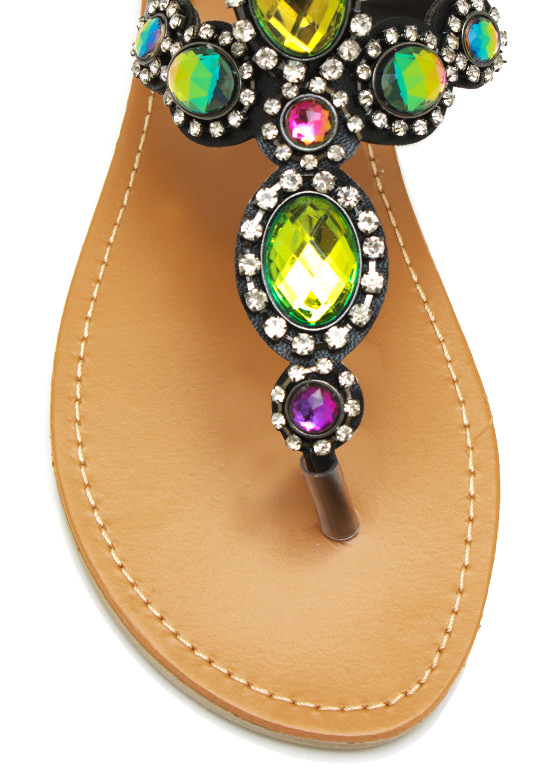 Bejeweled Thong Sandals BLACK