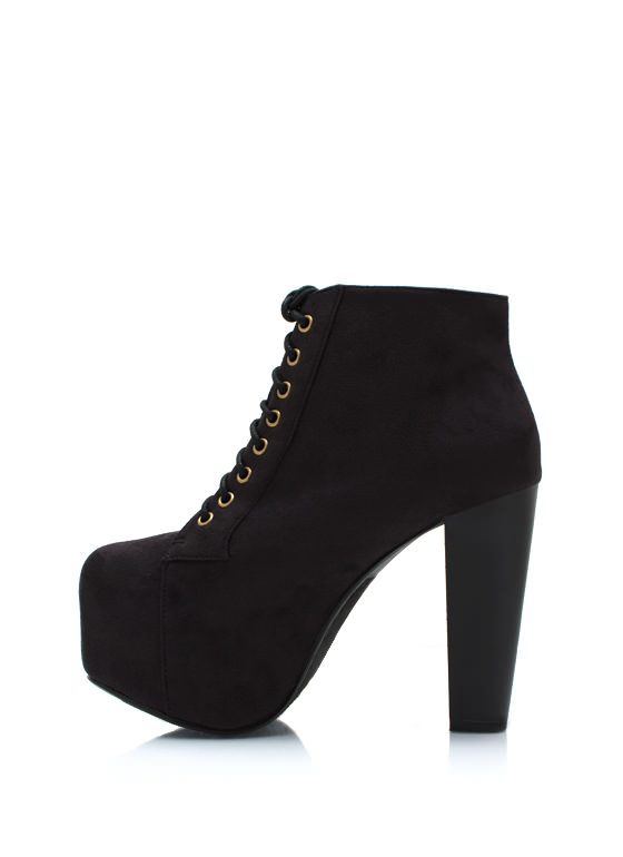 Faux Suede Platform Booties BLACK