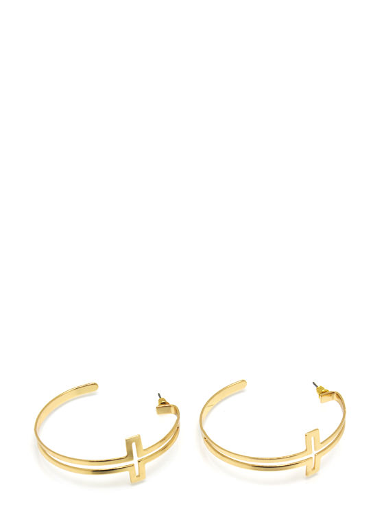Crossing Paths Hoop Earrings GOLD