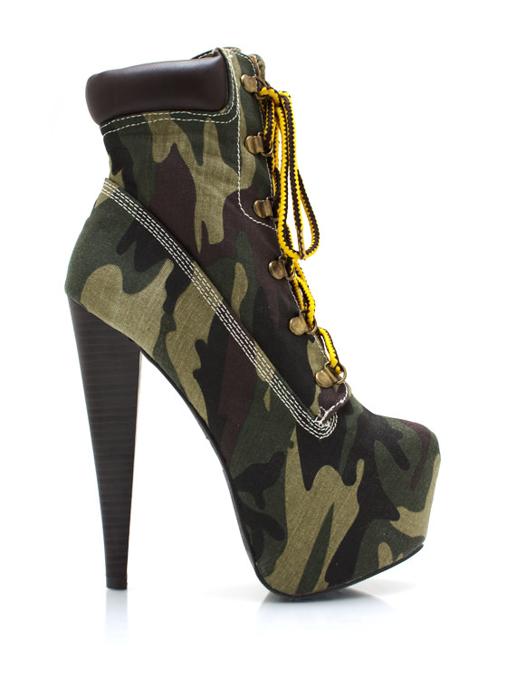 Lace Up Camo Booties CAMOUFLAGE