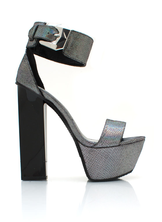 Sparkly Chunky Platform Heels PEWTER