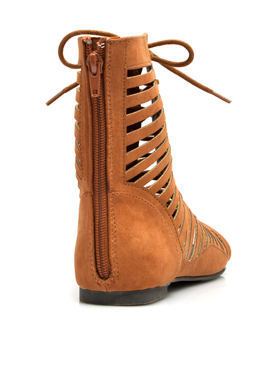 Lace Up Slit Gladiator Sandals RUST