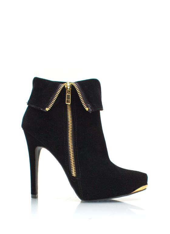 Zipped Up Velvet Booties BLACK