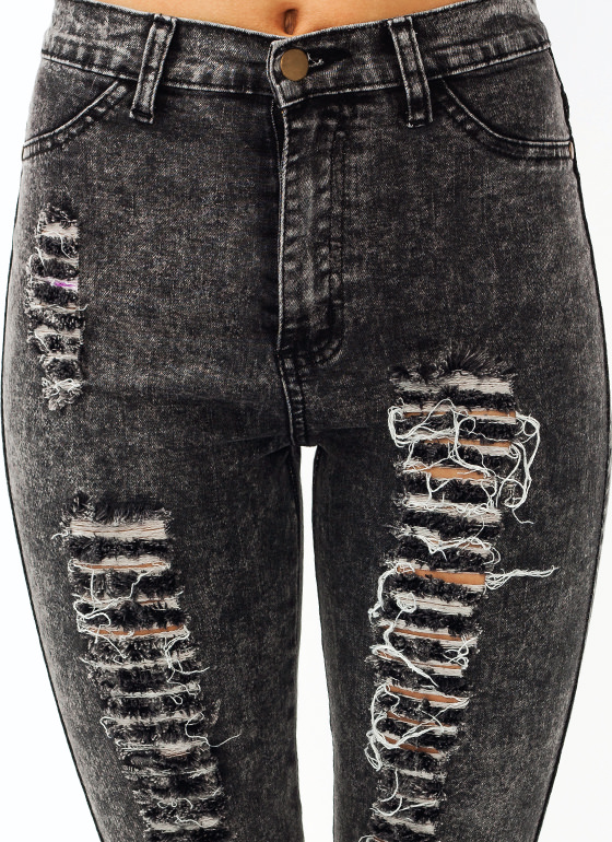 Distressed Acid Wash Skinny Jeans BLACK