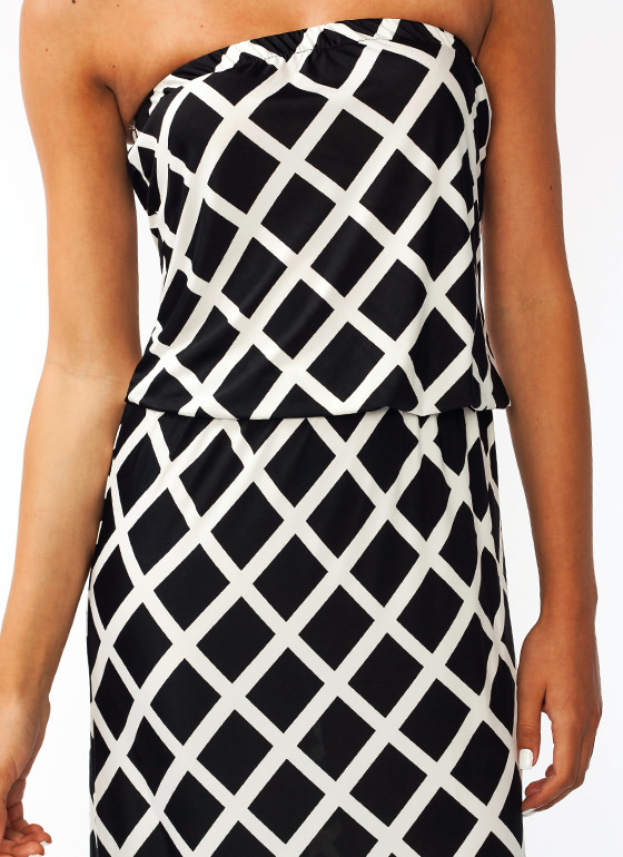 Lattice Print Maxi Dress BLACK