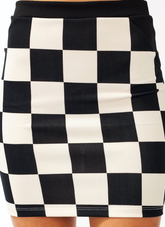 Check Mate Skirt BLACKCREAM