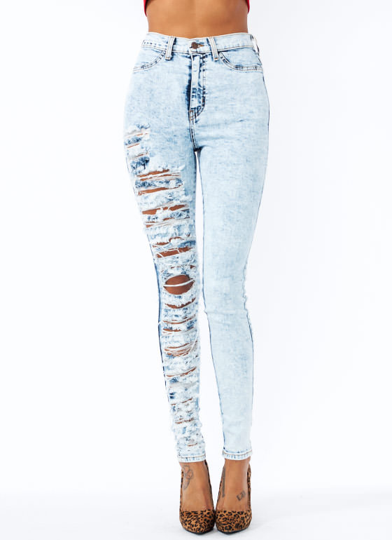 Destroyed Acid Wash Jeans LTBLUE