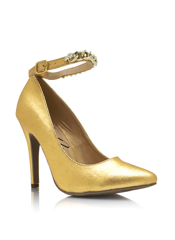 Metallic Chained Up Single Sole Heels GOLD