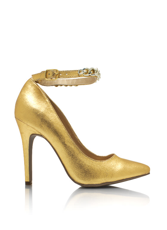 Metallic Chained Up Single Sole Heels GOLD (Final Sale)