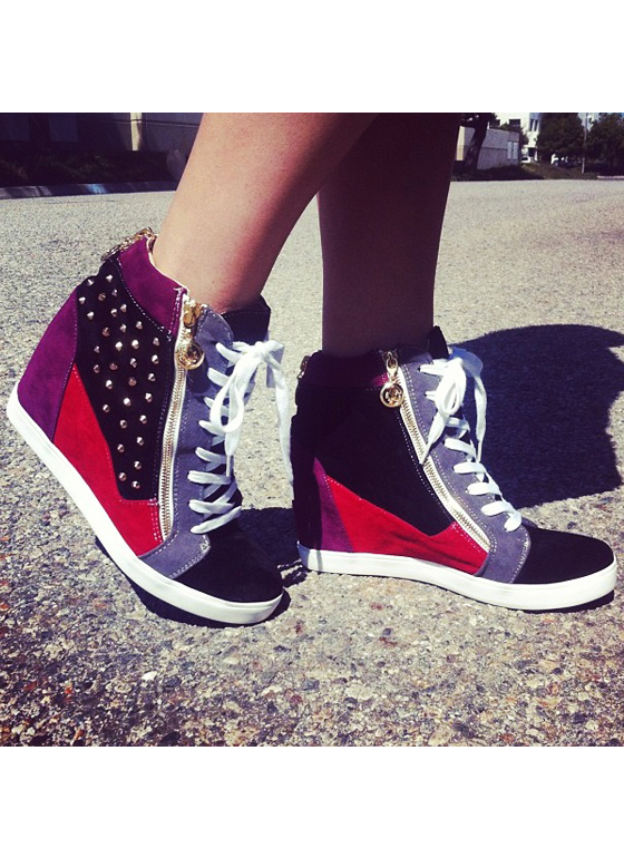 Total Stud Colorblock Wedge Sneakers BLACKMULTI