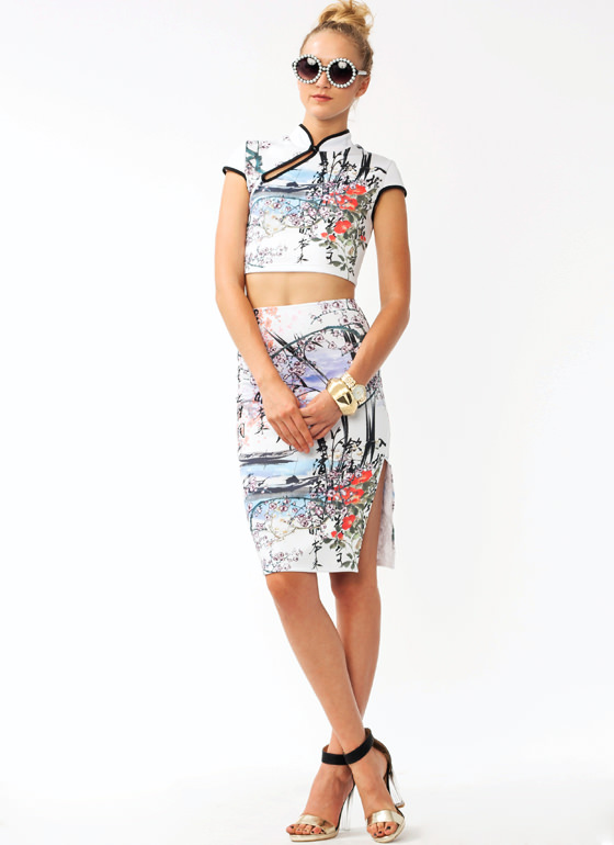 Cherry Blossom Pencil Skirt WHITEPURP