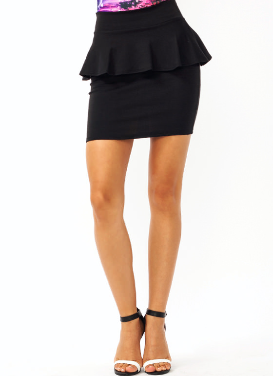 Pretty In Peplum Mini Skirt BLACK