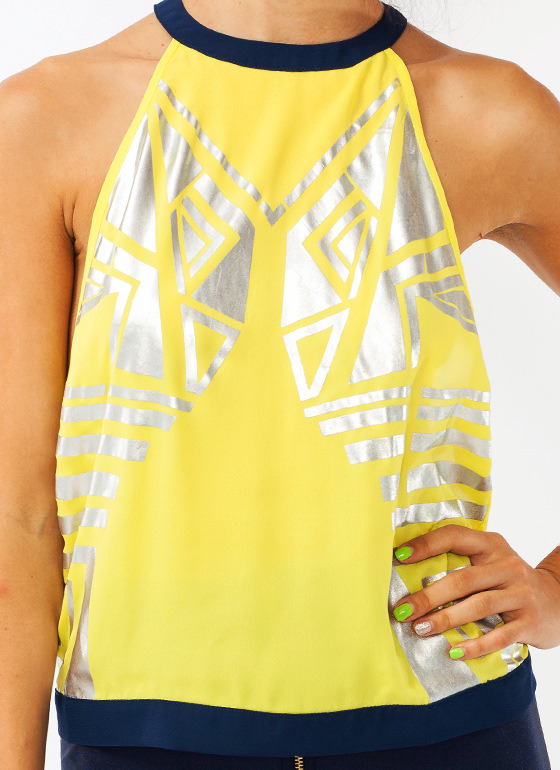 Strapped In Metallic Tank NAVYYELLOW
