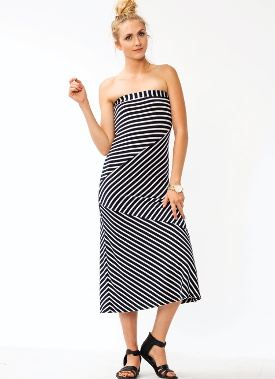 Angular Striped Maxi Skirt NAVY