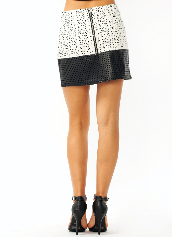 Laser Cut Mini Skirt BLACKIVORY (Final Sale)