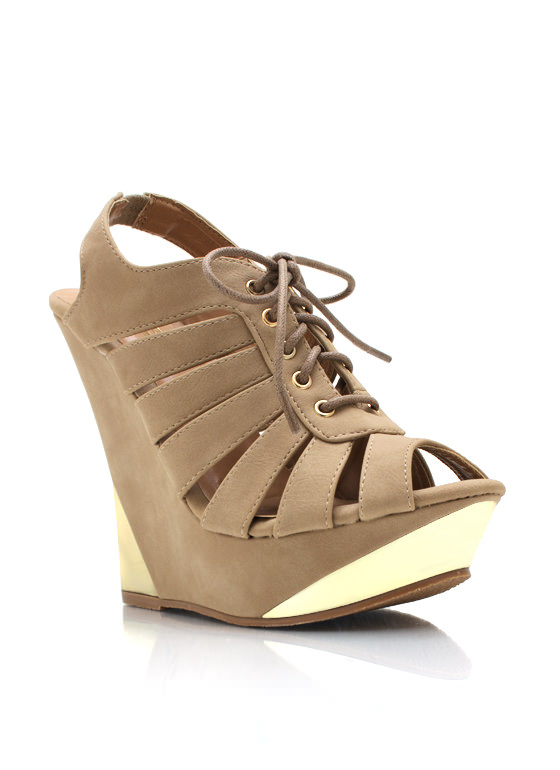 Metal Accent Cut Out Wedges TAUPE