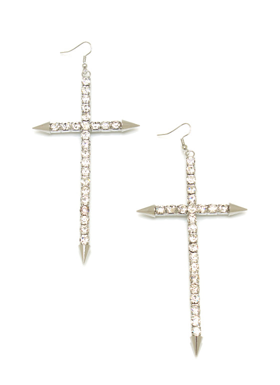 Diamonds On My Cross Earrings SILVER