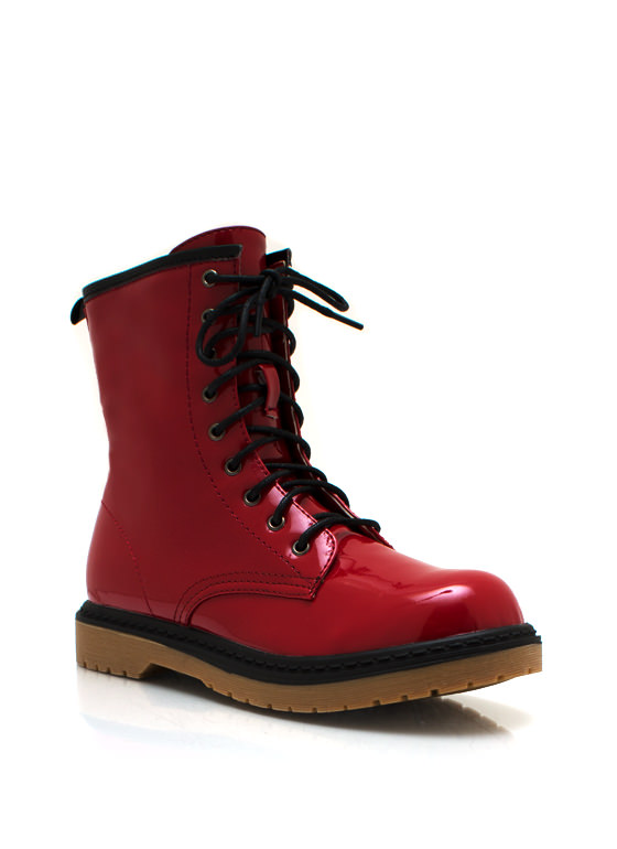 Faux Patent Combat Boots RED