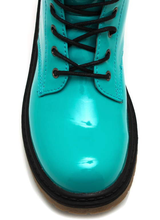 Faux Patent Combat Boots TURQUOISE