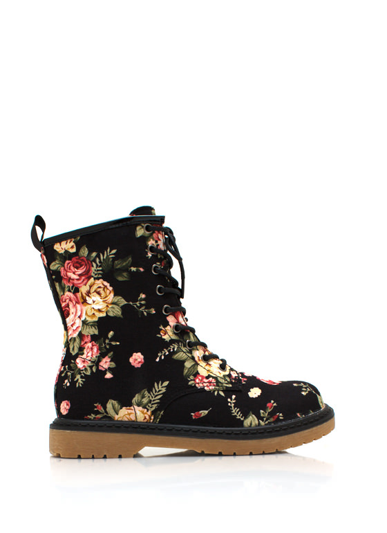 Flower Child Combat Boots BLACK