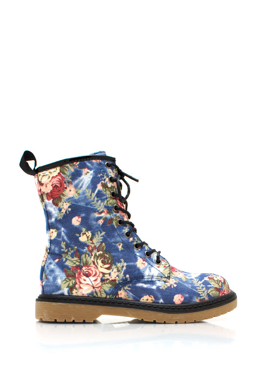 Flower Child Combat Boots BLUE