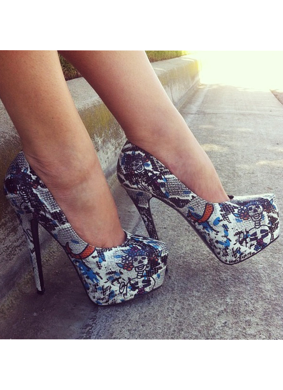 Day Of The Dead Reptile Pumps WHITEMLT