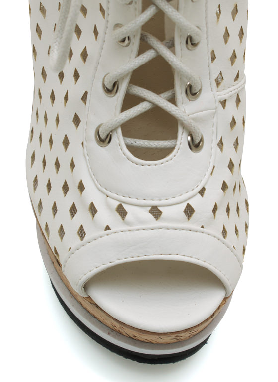 Perforated Lace Up Wedges WHITE