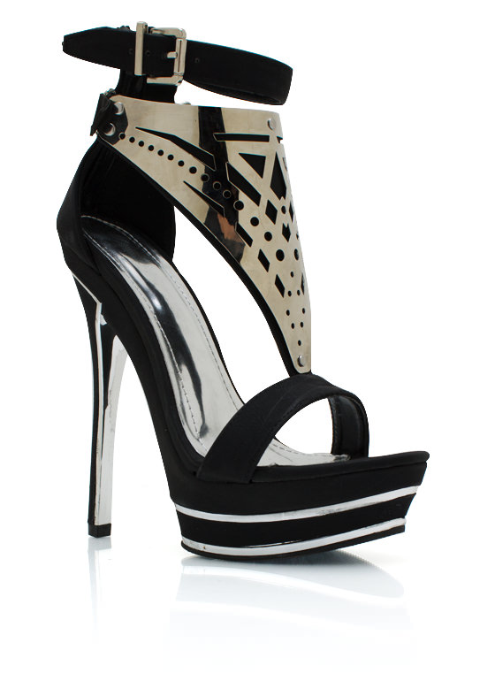 Plated Strappy Heels BLACK