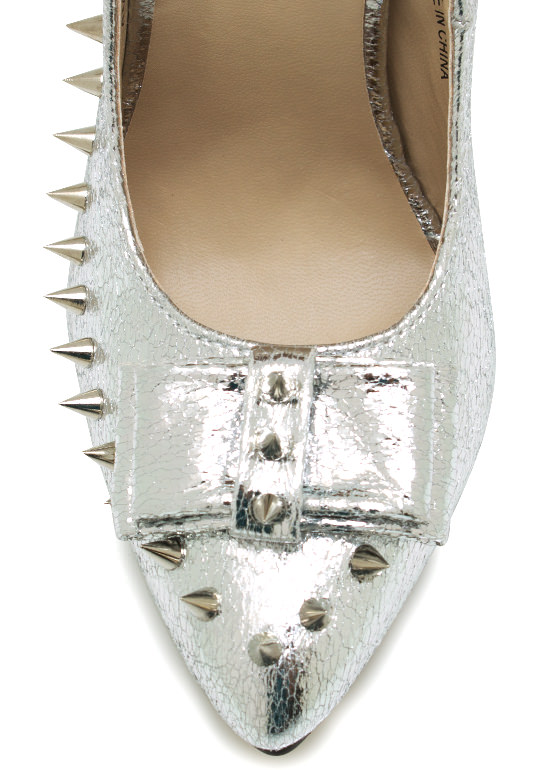 Punk Princess Bow Pumps SILVER