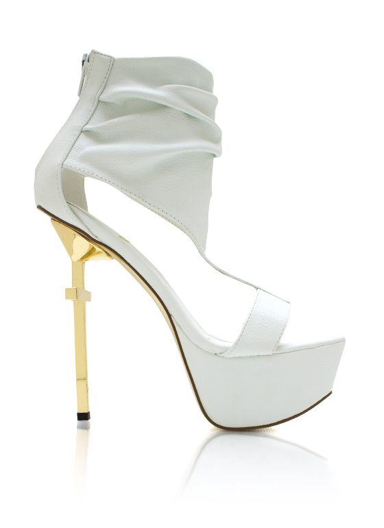 Cut Out Metallic Cross Heels WHITE