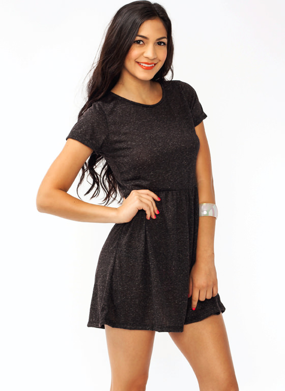Melange Babydoll Dress BLACK