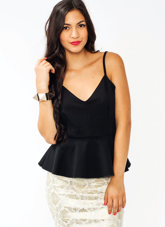 Pretty In Peplum Tank BLACK