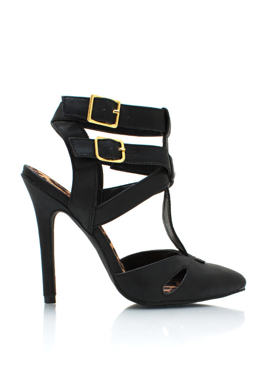 Strappy Pointy Toe Heels BLACK