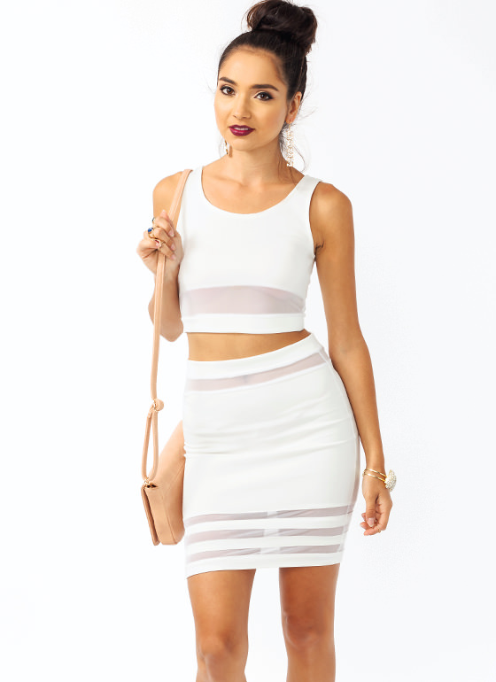 All Meshed Up Cropped Top WHITE