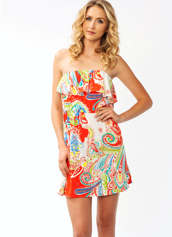 Ruffled Up Paisley Dress CORAL