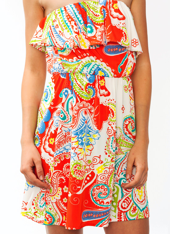 Ruffled Up Paisley Dress CORAL (Final Sale)