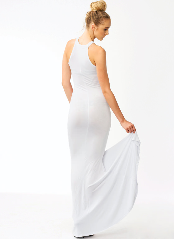 Gone Retro Maxi Dress WHITE