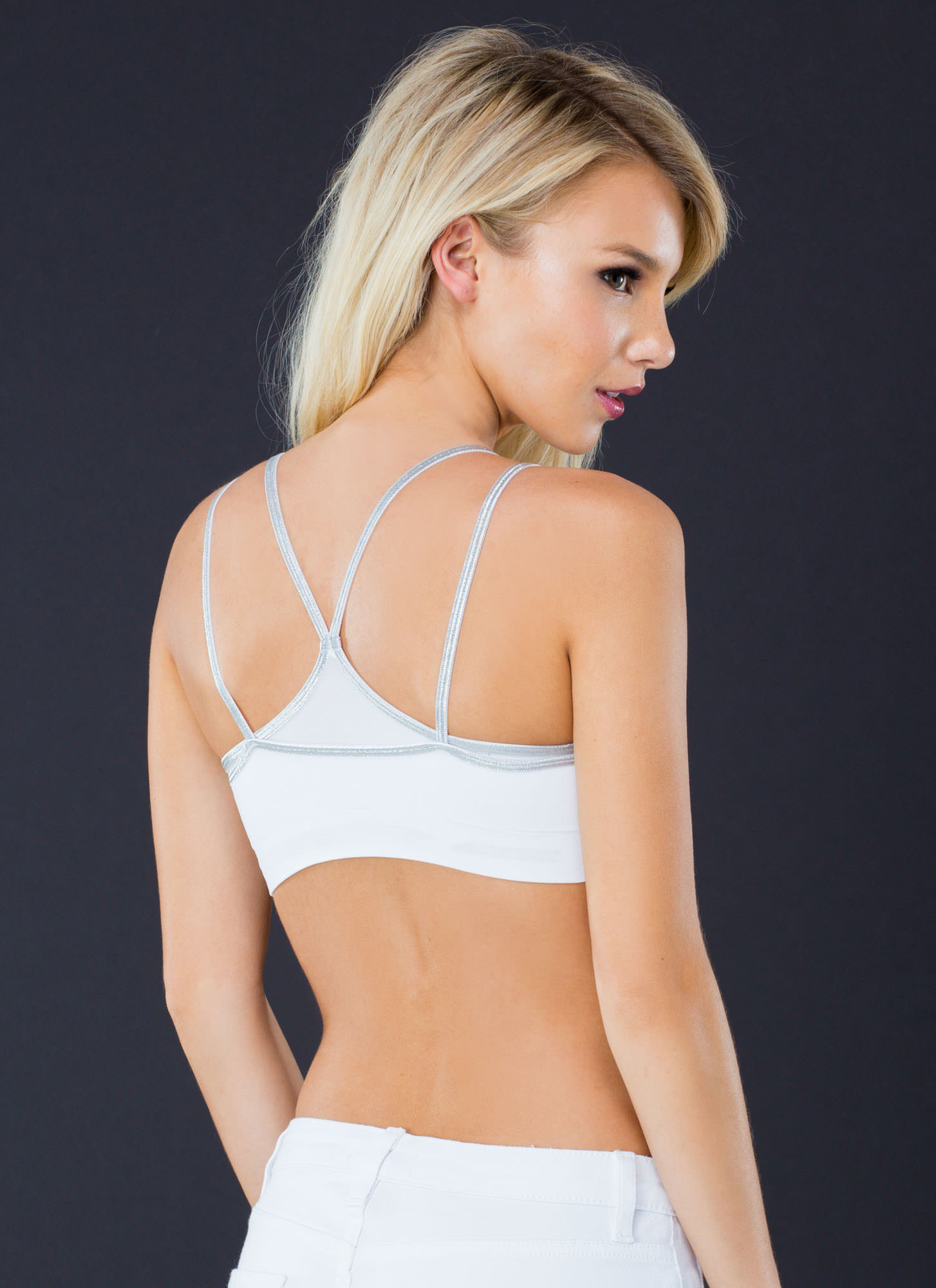 Strappy Metallic Bralette WHITE