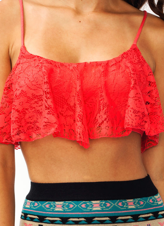 Cream Of The Crop Lace Top CORAL