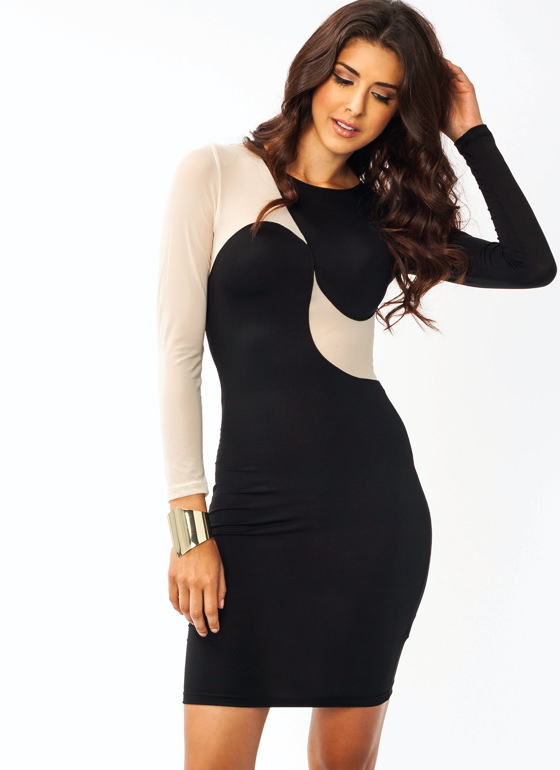 Super Swirl Contrast Dress BLACKCREAM
