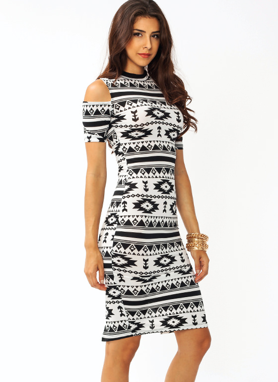 Southwestern Cold Shoulder Dress BLACKWHITE
