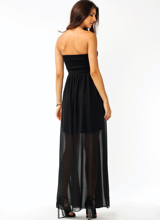 Overlapping Chiffon Maxi Dress BLACK