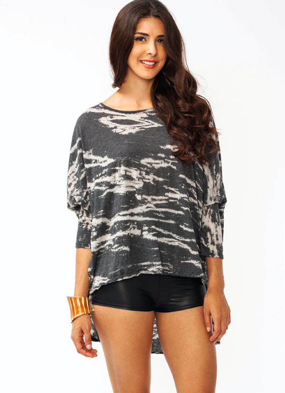 Twisted Batwing Top CHARCOAL