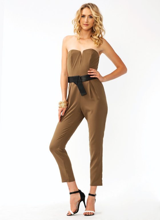 Pleated Tapered Jumpsuit TAUPE (Final Sale)