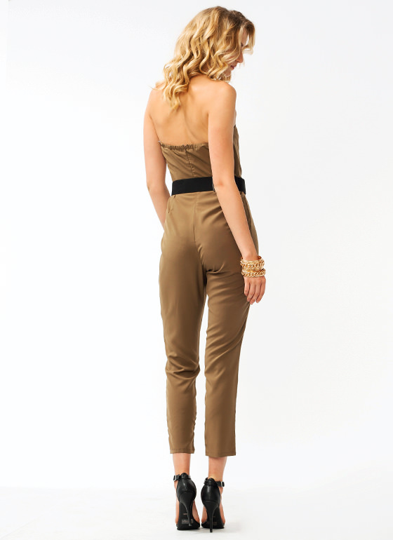 Pleated Tapered Jumpsuit TAUPE