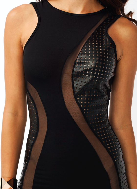 Perforated Mesh Bodycon Dress BLACK