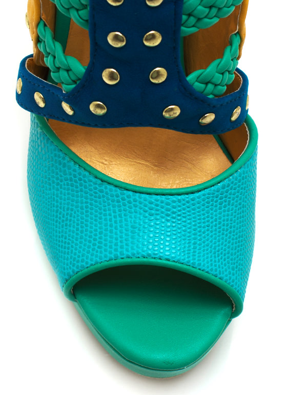 Miss Mix A Lot Platform Heels TURQUOISE