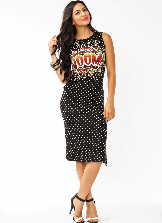 Polka Dot Explosion Dress BLACK