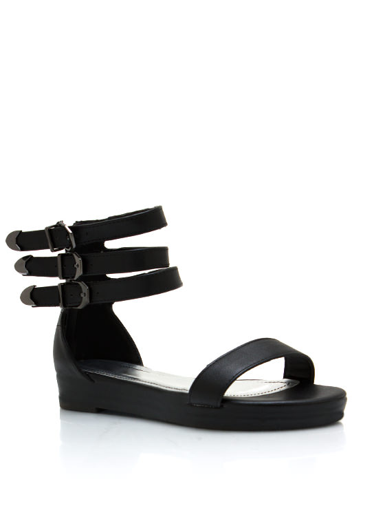 Triple Buckle Faux Leather Sandals BLACK